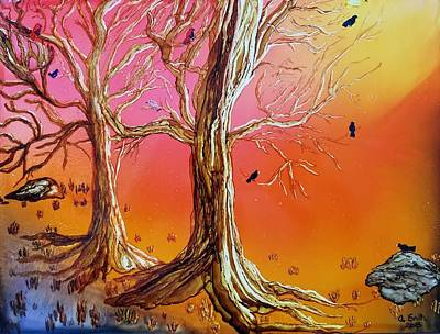 Painting - Birds In Trees by Gerry Smith