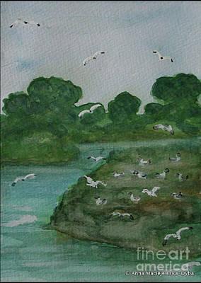 Painting - Birds' Island by Anna Folkartanna Maciejewska-Dyba