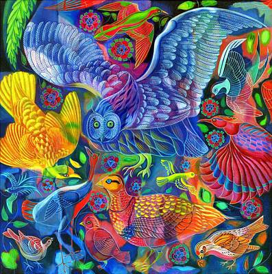 Multi Colored Painting - Birds by Jane Tattersfield