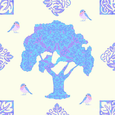 Digital Art - Birds N Trees by Methune Hively