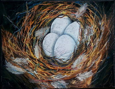 Low Price Painting - Birds Nest by MadhuRavi Paintings