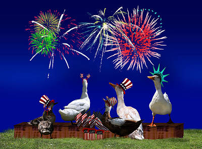4th July Digital Art - Birds Of A Feather Celebrate Freedom by Gravityx9  Designs