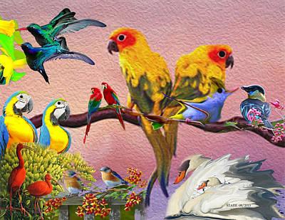Lovebird Digital Art - Birds Of A Feather by Starr