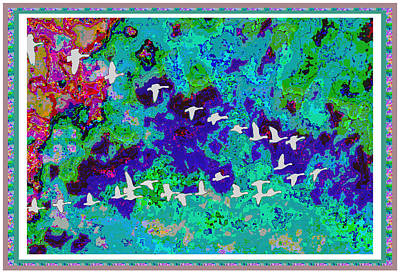 Mixed Media - Birds Of Paradise Dream Interior Decoration Signature Art Download Option See Discription by Navin Joshi