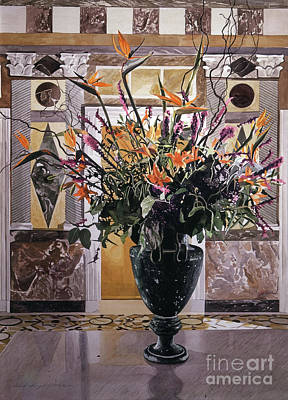 Floral Arrangement Painting - Birds Of Paradise Getty Museum by David Lloyd Glover