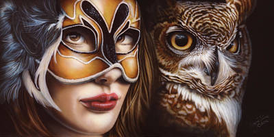 Wildfowl Painting - Birds Of Prey - Great Horned Owl by Wayne Pruse