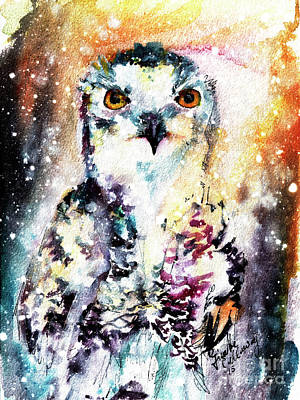 Painting - Birds Of Prey Snowy Owl Wildlife Art by Ginette Callaway