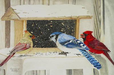 Birds On A Feeder Art Print by Rosalind Batty