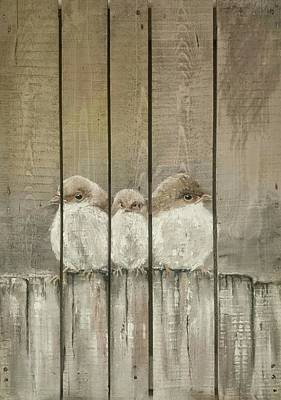 Pottery Barn Painting - Birds On A Fence by Sonja  Roosenhart