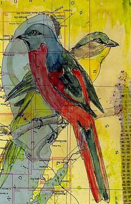 Mixed Media - Birds On A Map by Jillian Goldberg