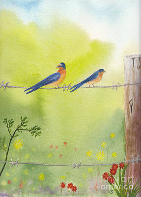 Painting - Birds On A Wire Barn Swallows by Conni Schaftenaar