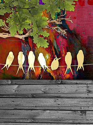 Birds On A Wire Collection Art Print by Marvin Blaine