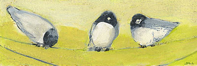 Painting Royalty Free Images - Birds on a Wire Royalty-Free Image by Jennifer Lommers