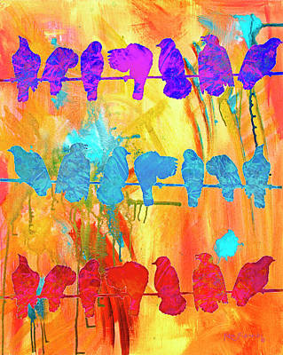 Canary Mixed Media - Birds On A Wire Modern Art 2 by Ken Figurski