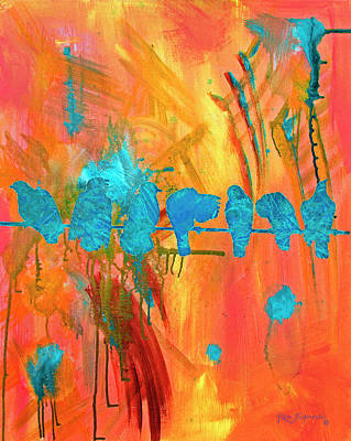 Parakeet Mixed Media - Birds On A Wire Modern Art by Ken Figurski