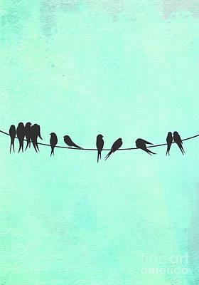 Birds On A Wire Silhouette Happy Birdies Art Print by Tina Lavoie