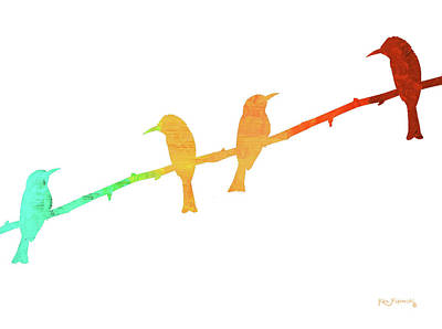 Parrot Painting - Birds On A Wire Simple by Ken Figurski