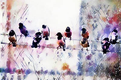Mixed Media - Birds On A Wire by Susan Maxwell Schmidt