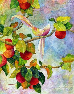 Apple Watercolor Painting - Birds On Apple Tree by Hailey E Herrera