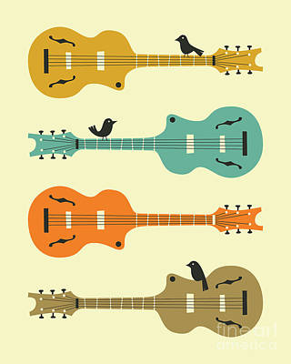 Retro Art Digital Art - Birds On Guitar Strings by Jazzberry Blue