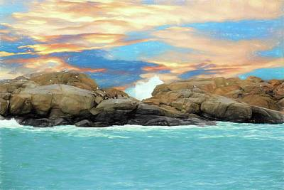 Digital Art - Birds On Ocean Rocks by Rusty R Smith