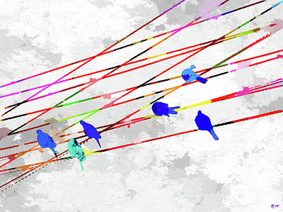 Mixed Media - Birds On The Wire by Daniel Janda