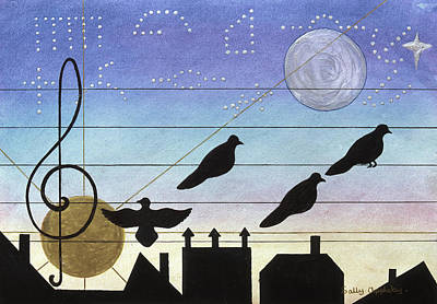 Birds On Wires Art Print by Sally Appleby