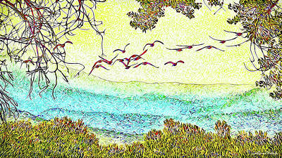 Digital Art - Birds Over Horizon - Boulder County Colorado by Joel Bruce Wallach