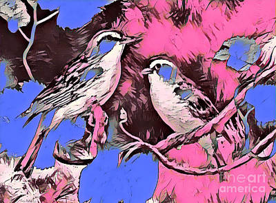 Mixed Media - Birds Pink And Blue by Lita Kelley