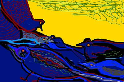 Digital Art - Birds Play-2 by Anand Swaroop Manchiraju