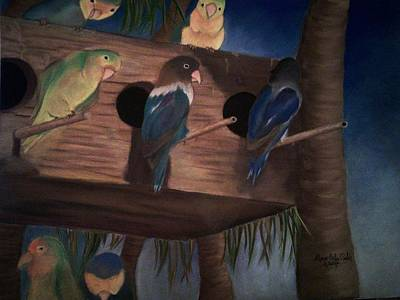 Pastel - Birds Resting by Alma Bella Solis