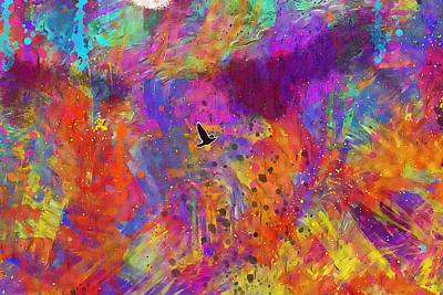 504 Digital Art - Birds Sky Flight Pigeons Pen  by PixBreak Art