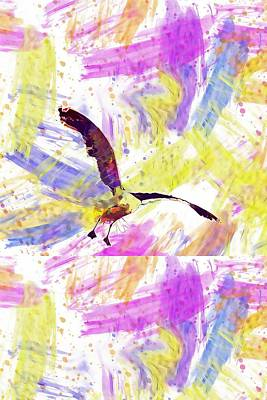 Digital Art - Birds Wings Seagulls Bird Fly  by PixBreak Art