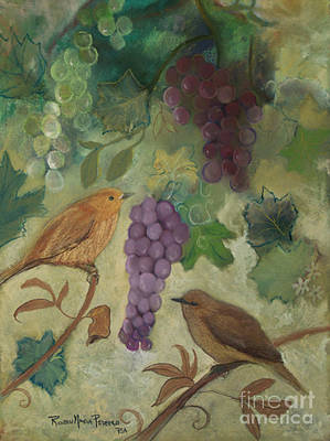 Pastel - Birds With Grapes  by Robin Maria Pedrero