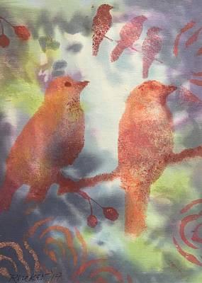 Silks Mixed Media - Birdscape by Catherine Rucker