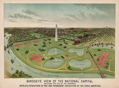 Capitol Building Mixed Media - Birdseye View Of The National Capital 1892 by Johnson Kurtz