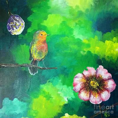 Pear Tree Painting - Birdy Dreams by Alicia Jones