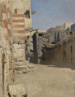 Painting - Birket El-kherum Street In Cairo by Leopold Muller