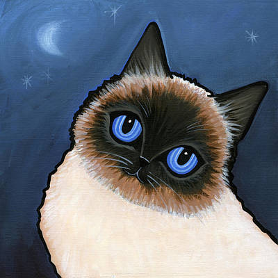 Birman Blue Night Art Print by Leanne Wilkes