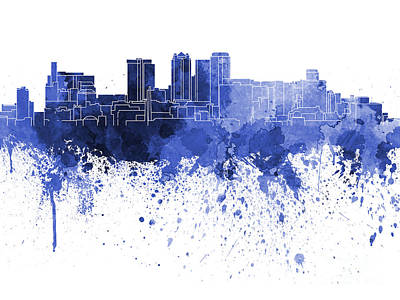 Grunge Painting - Birmingham Al Skyline In Blue Watercolor On White Background by Pablo Romero