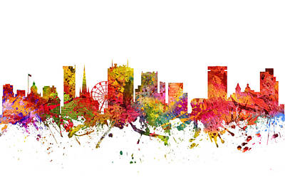 Europe Drawing - Birmingham Cityscape 08 by Aged Pixel