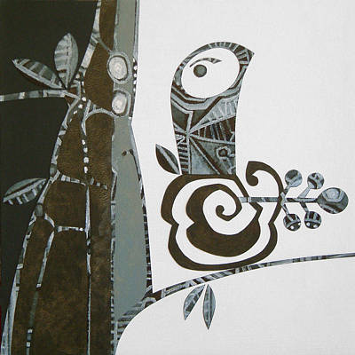 Monotone Painting - Birte's Bird by Susan Lishman
