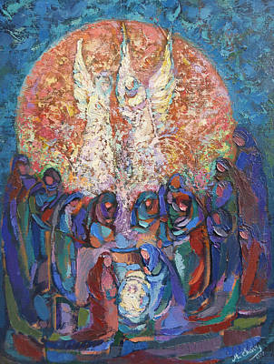 Painting - Birth Of Jesus by Miguel A Chavez