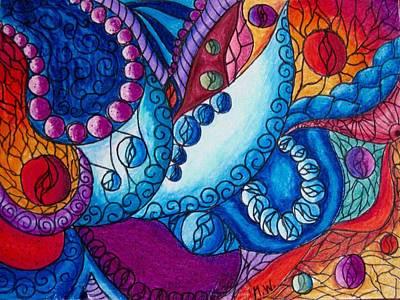 Colored Pencil Abstract Drawing - Birth Of Paisley 2 by Megan Walsh