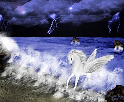 Lightning Digital Art - Birth Of Pegasus by Tanya Van Gorder