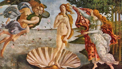 Education Digital Art - Birth Of Venus By Sandro Botticelli Revisited - Da by Leonardo Digenio