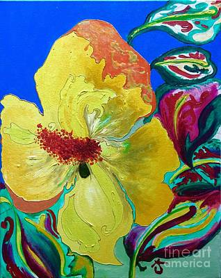 Birthday Acrylic Yellow Orange Hibiscus Flower Painting With Red And Green Leaves Original by Alicia Jones