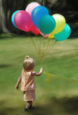 Girl With Peaches Digital Art - Birthday Balloons by Lisa  Westrope