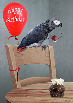 Digital Art - Birthday Bird Card by IM Spadecaller