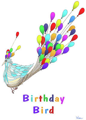 Mixed Media - Birthday Bird by Lise Winne